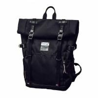 双肩包男潮流时尚旅行背包大学生电脑包卷盖书包hr 黑色