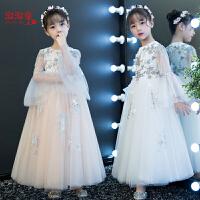 儿童走秀晚礼服长袖公主裙女孩礼服主持人蓬蓬纱长款演出服春夏