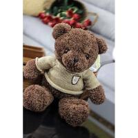毛衣泰迪熊公仔毛绒玩具小熊抱抱熊大号布娃娃生日礼品抖音 咖啡色 海藻熊深棕色