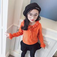 女童2018春季新款韩版套头休闲喇叭袖蝴蝶结打底衫亲子装