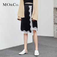 MOCO夏季新品半开襟腰带蕾丝拼接半身裙MA182SKT114 摩安珂