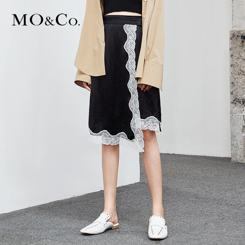 MOCO夏季新品半开襟腰带蕾丝拼接半身裙MA182SKT114 摩安珂 满399包邮 别致蕾丝拼接 半开襟式剪裁