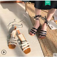 凉鞋女鞋高跟鞋粗跟绑带新款韩版时尚一字露趾方头罗马鞋