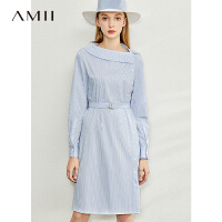 【到手价:168元】Amii极简不对称翻领细条纹连衣裙2020春新款配腰带侧开襟衬衫裙子