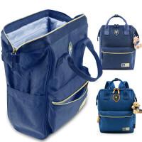 双肩背包女帆布两用书包旅行背包uy X385深蓝【赠原装小熊】