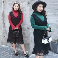 2018大码女装新款春季高领针织衫接拼蕾丝假两件连衣裙时尚中长款