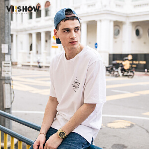 VIISHOW夏装新款圆领套头休闲短袖T恤男纯棉动漫印花男士短T