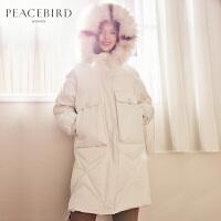 太平鸟大毛领工装羽绒服女中长款豆绿色2019冬季新款白色连帽外套