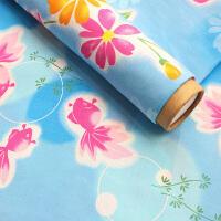 日本和风三段式和服浴衣布料 斜纹纯棉樱花金鱼服装手工DIY棉面料 拍一件=一米(门幅110厘米)