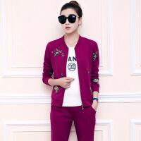 秋季新款运动套装女韩版潮流显瘦棒球服女卫衣三件套 X