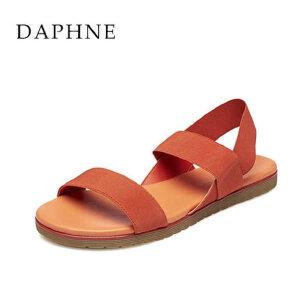 Daphne/达芙妮春夏款罗马风平底休闲防滑布凉鞋1515303020