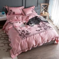 红色四件套棉贡缎床上用品精工刺绣磨毛床单被套黑色蕾丝边 秘密花园
