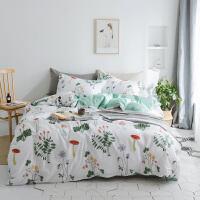 纯棉小清新四件套床单被套1.5m1.8m床上用品单人学生被子全棉床品 2.0m(6.6英尺)床 床单套件