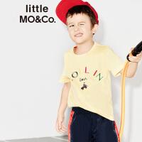 littlemoco百搭纯色彩色slogan刺绣圆领纯棉T恤KA172TEE213