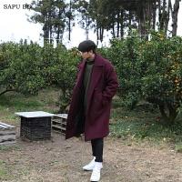 枣红色羊绒大衣男双排扣中长款青年韩版落肩毛呢大衣男风衣呢子冬