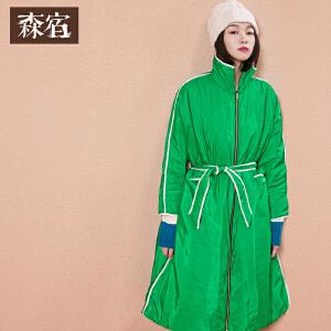 森宿P风和日暖冬装新款包边宽松拉链腰带简约长款保暖棉服女