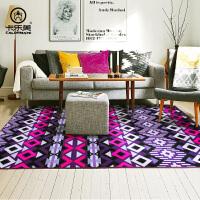 波西米亚民族风客厅地毯 门厅沙发茶几地垫卧室铺满床边短毛毯子