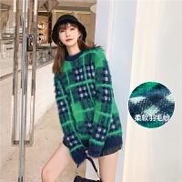 【12.12年终狂欢 到手价:219.8元】七格格针织衫女2019冬季新款韩版宽松绿色套头外穿格子毛衣上衣潮