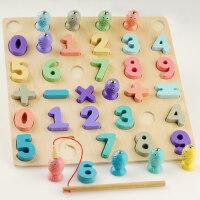 儿童早教数字字母配对板积木2-6岁宝宝拼图磁性钓鱼启蒙玩具