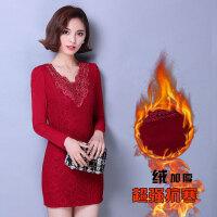 秋冬新款 韩版大码女装 加绒加厚中长款长袖蕾丝打底衫女