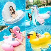 玫瑰金火烈鸟独角兽游泳圈儿童坐骑浮床水上充气玩具浮排