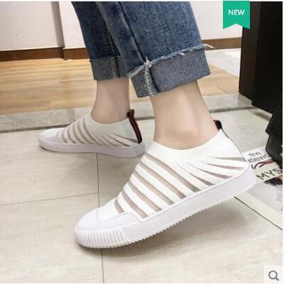 透气运动板鞋女夏韩版ulzzang针织单网面百搭潮款一脚蹬ins潮 品质保证 售后无忧