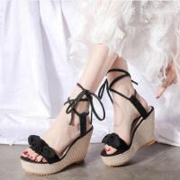 坡跟凉鞋女时尚韩版百搭绑带ins同款厚底鞋配仙女裙的鞋子高跟鞋