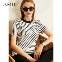 【券后到手价:62.9元】Amii法式复古短袖T恤女2020春季新款潮撞色条纹拼接修身打底上衣