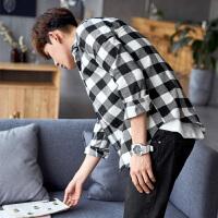 【1件2.5折49元】年冬季格子衬衫男长袖青年磨毛加厚黑白衬衣韩版