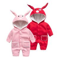 宝宝连体衣服女婴儿0岁7个月男童潮款冬装内衣新生儿秋冬季睡衣