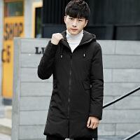 男士羽绒服修身中长款2017冬季新款韩版加厚白鸭绒外套潮 黑色AK7903