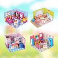 女孩屋3D立体拼图 女孩玩具甜蜜小屋娃娃屋房子纸模模型