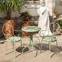阳台桌椅三件套铁艺桌椅户外桌椅休闲桌椅咖啡厅桌椅组合彩色桌椅 03款 浅绿色1桌2椅子