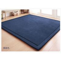 加厚家用卧室满铺房间阳台软地毯海绵垫子底垫爬行榻榻米地垫j 深蓝色 200厘米*400厘米*3厘米