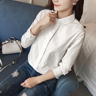 白色衬衫女2018春秋装新款打底衬衣韩版休闲宽松大码上衣寸衫