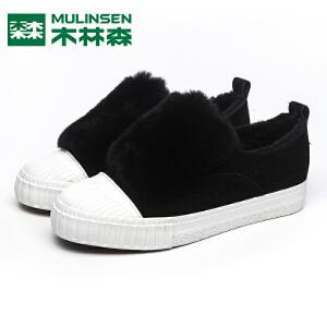 木林森女鞋冬季加绒保暖棉鞋低帮一脚蹬平底鞋韩版简约休闲鞋女