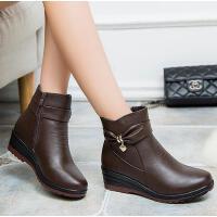 真皮短靴平底平跟妈妈二棉鞋加绒女靴中老年皮靴2017冬季新款靴子