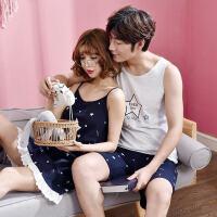 情侣睡衣夏季短袖吊带睡裙性感女背心韩版可爱两件套男家居服套装