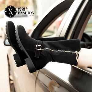【满200减100】【毅雅】简约舒适绑带粗跟长靴低跟侧拉链休闲女鞋靴子