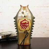 中式创意家居装饰品摆件鱼陶瓷工艺品客厅酒柜博古架摆设工艺礼品