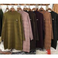T3毛衣女秋冬中长款半高领宽松打底衫韩版套头长袖针织衫混色0.52