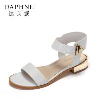 Daphne/达芙妮正品休闲低跟女鞋 简约鳄鱼纹一字带金属搭扣凉鞋