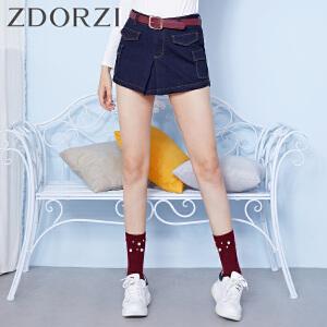zdorzi卓多姿百搭时尚显瘦纯色牛仔短裤女832112