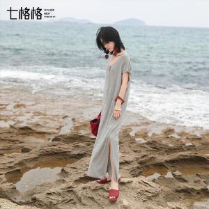 七格格2017夏装新款时尚简约宽松V领连袖不规则中长款连衣裙