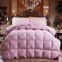 家纺2017秋冬款棉被子羽绒冬被 双人羽绒被加厚保暖面包被子床上用品 乳