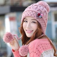 韩版潮毛线帽子女秋冬天新款可爱护耳针织帽秋冬季女士加绒保暖帽