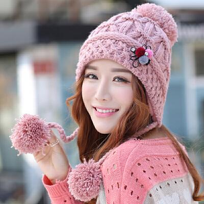 韩版潮毛线帽子女秋冬天新款可爱护耳针织帽秋冬季女士加绒保暖帽 可拆花朵发夹 点纱针织 加绒加厚 护耳保暖