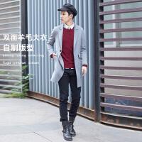 男双面羊绒大衣修身韩国男呢子2017反季简约男士羊毛呢大衣外套潮