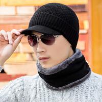 帽子男冬天韩版潮百搭羊毛线帽加厚针织帽保暖护耳帽秋冬季帽檐帽