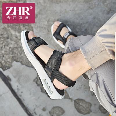 ZHR凉鞋男韩版潮流平底魔术贴沙滩鞋时尚个性露趾运动凉鞋2018夏新品